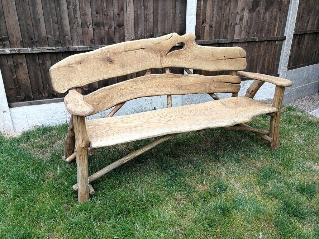 Solid heavy handmade wooden garden furniture oak bench