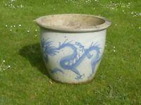 Large Pale Blue Ceramic Garden Pot with Dragon Decoration 33cm Tall