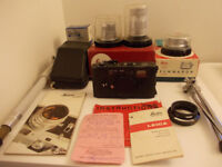 Leica Vintage M5 Camera Boxed + 3 Leica M 50mm / 35mm & 90mm Lenses + Leitz M5 Leather Case & Stand