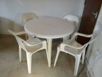 Plastic Garden Furniture Set 5 Pieces Outdoor Table & 4 Dining Chairs - White