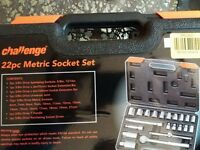 Challenge 22 piece socket tool set (brand new)