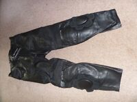 Leather Motorbike Trousers, Mens, Black, Size M, Warrior Gear Brand with tags.