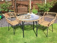 Stylish Lyra Outdoor Glass Topped Tabe and Two Matching Chairs. Brand New - Never Used.