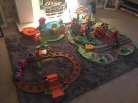 Bundle of Happy Land and Toot Toot garage toys
