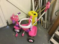 Minnie Mouse trike, sounds and parent handle in pink