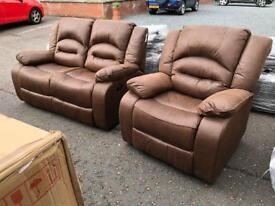 Ex-display** Brown 2+1 fully reclining suite ,