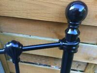 Double Headboard - Black Gloss Tubular Metal - Brand New