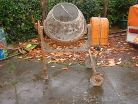 Electric cement mixer.