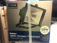 500W Halogen Floodlight Black Complete with Lamp