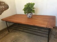 Coffee Table Industrial Retro Chic Rustic Reclaimed on steel legs