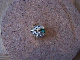 Gold Diamante & Green Lady Bug Brooch