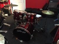 Stagg Tim Red Drum Kit with stands, cymbals and sticks
