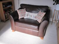 Brown Leather 2 seater sofa from the M&S collection - Love Seat - VGC