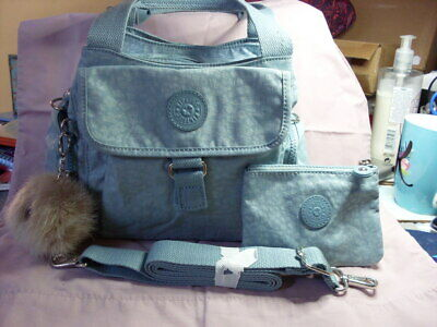 KIPLING FAIRFAX MULTI POCKET MEDIUM BAG & SYMI PURSE IN CHEETAH BLUE, BOTH BNWT