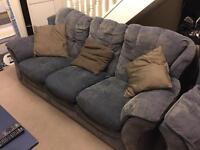 FREE! Blue Fabric Sofa. 3 Seater & 1 Seater