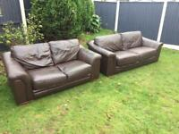 Brown leather 3&2 sweater sofas can deliver