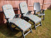 Folding garden armchair recliners x3, plus cushions/leg-rest x 2