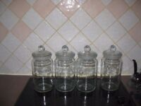 Set of Four 2 litre Glass Storage Jars with stoppers.