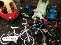 Job lot - Slide, see saw, bikes, balance bike, cosy coupe car - can deliver