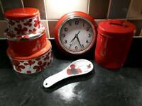 Red kitchen bundle. Kettle/toaster etc
