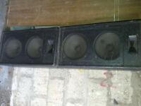 Pair of PA speakers, spares or repair. DJ stage etc