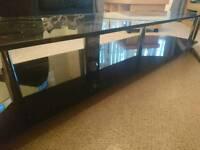 Black Tempered glass TV standii