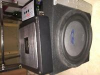 "Pioneer Amp, 10"" sub and line out converter"