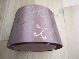 FAUX SILK BROWN LAMPSHADE ~ GOLD SWIRL DESIGN ~ BASE TO CONCEAL BULB ~ SM MARK ON SIDE ~ BARGAIN £2