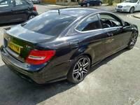2013 (62) Mercedes C250 Coupe AMG Sport Plus, FMBSH, black, diesel Auto, sat nav, paddle shift