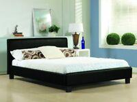 4ft6 Italian Designer Faux Leather Double Bed Frame In Black White Both Bases + Orthopedic Mattress