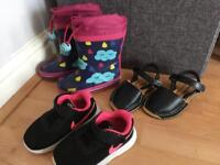 Girls toddler size 5 wellies and 5.5 shoes and trainers