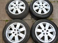 """FORD 16"""" 5 STUD ALLOY WHEELS WITH EX TYRES AND SET OF NUTS"""