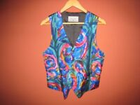 Brightly coloured silk waistcoat with blue, green & pink pattern