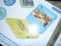 minions portable dvd player and blow up sofa