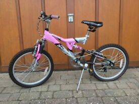 Girls Mountain Bike - Reebok Active Fitness 13 inch. Full suspension. Hardly used. Age 7-12