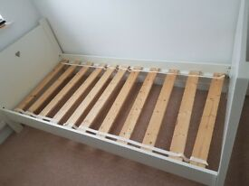 Single bed frame and single door wardrobe