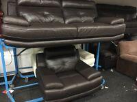 New/Ex Display Brown Leather Genoa 3 Seater Sofa + 1 Seater Sofa