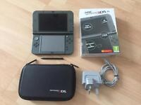 Nintendo 3DS XL Metallic Black console, with Case, and PSU *Mint Condition*
