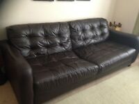 Chocolate brown leather sofa - great condition £60
