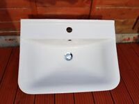 Large bathroom sink and pedestal with centre tap hole and modern look.
