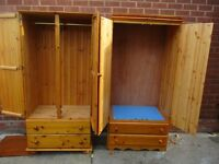 Wardrobes. 2 Solid pine Wardrobes & chest of solid pine drawers