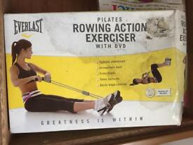 Pilates rowing action exerciser