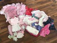 Large bundle of newborn baby girls clothes