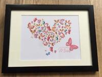 Mother's Day Gift. 3D Butterfly heart shape. Personalised