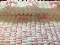 Hand knitted baby's pram blanket 19x21 inches make lovely gift