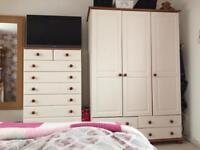 Whole bedroom furniture set wardrobe chest of drawers bedside table dresser desk pine