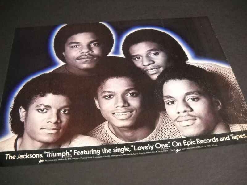 The JACKSONS Triumph featuring the single LOVELY ONE 1980 PROMO POSTER AD