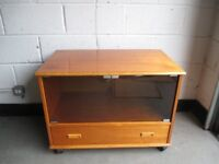 TEAK GLASS FRONTED TV CABINET TV UNIT WITH SINGLE DRAWER