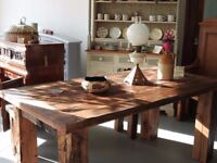Beautiful very heavy oak table from the Balkans reduced for quick sale , one off piece .