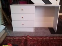 Nice clean white dressing table with 3 large drawers Length 122 Width 40 Height 76cm NN9 Finedon